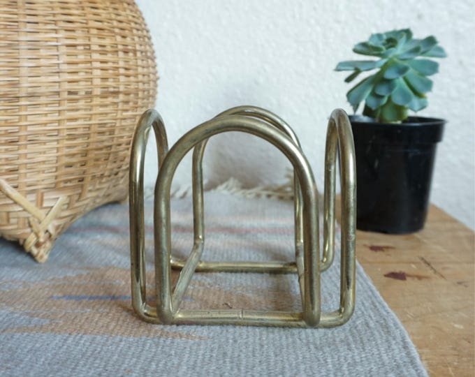 Vintage Gold Metal Brass Cube Square Frame Holder / Planter
