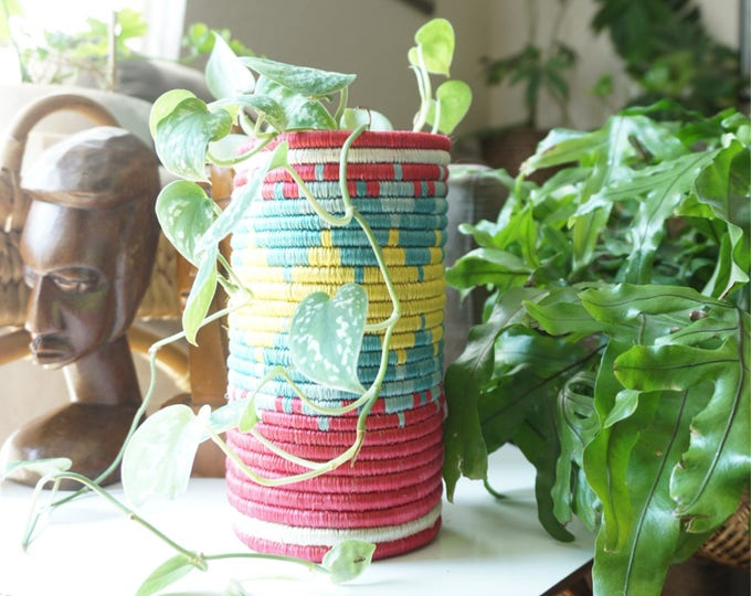 Tall Coiled Multicolored Basket / Vase / Planter