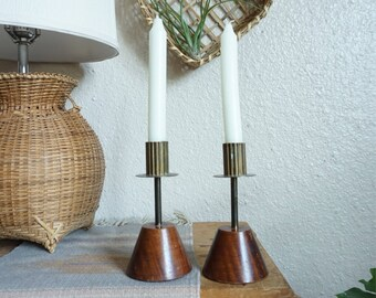 Vintage Gold Metal and Wood Candle Holder - Pair of Two