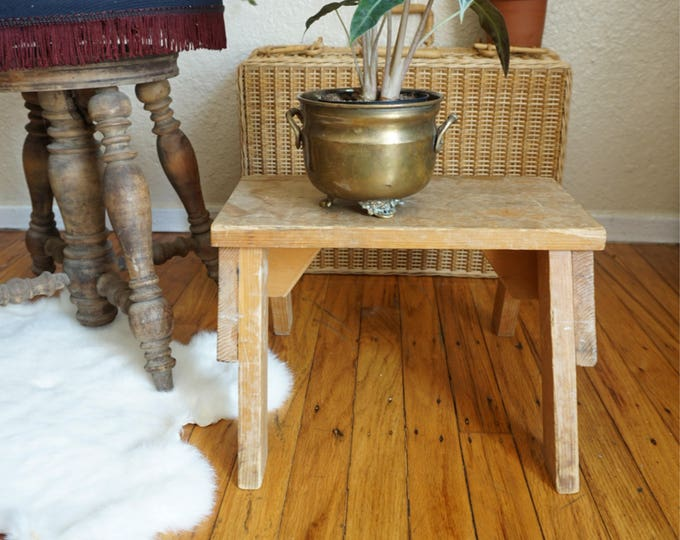 Vintage Solid Wood Step Stool with Handmade Note