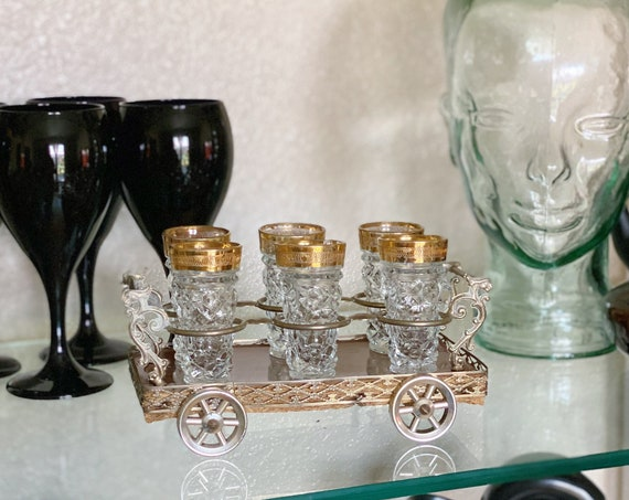 Vintage Crystal and Gold Trim Shot Glass Set of Six with Original Carriage Caddy