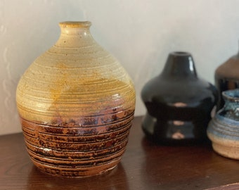 Beautiful Three Toned Beige Brown Sun Ceramic Pot / Bud Vase / Vessel - Studio Pottery