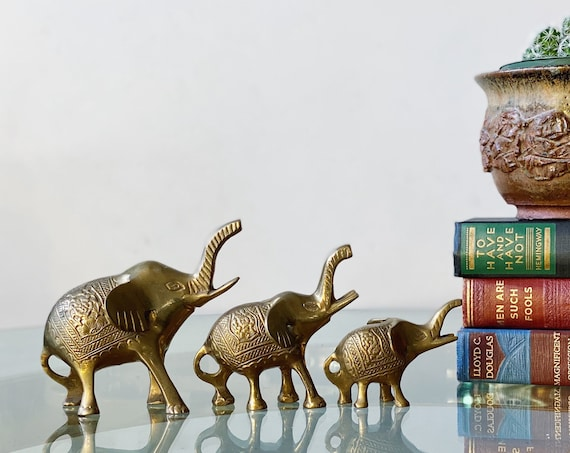 Gorgeous Solid Brass Elephant Trio with Intricate Detailing - Family of Elephants Set