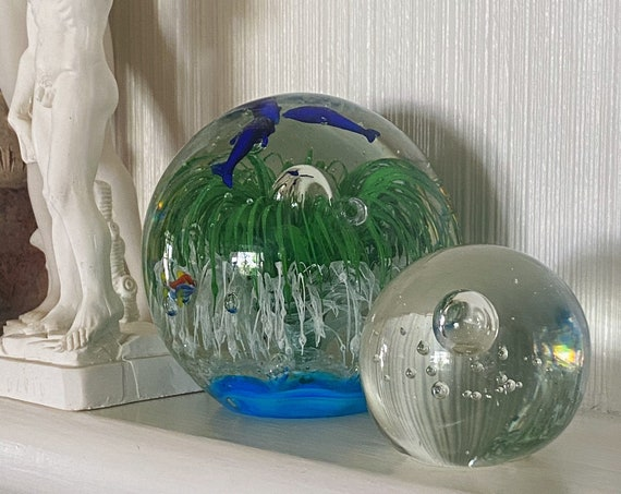 Clear Glass Bubble Suspension Round Orb / Paperweight / Blown Glass Sculpture
