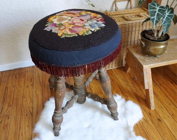 Antique Solid Wood Adjustable Stool with Floral Rose Embroidery Cushion
