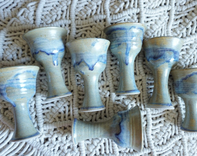 Set of 7 Small Vintage Blue Gray Goblet Cups