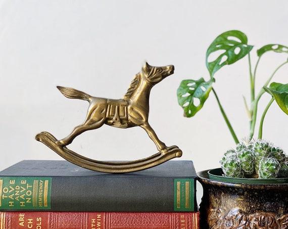 Vintage Solid Brass Rocking Horse Figurine
