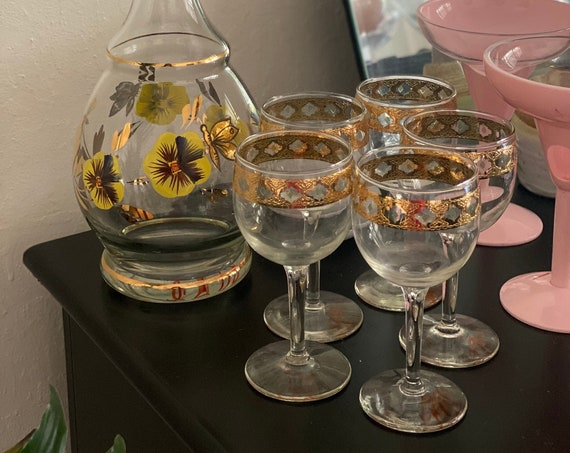 Mid Century Culver Valencia Glass Miniature Goblet Cups - Set of 4