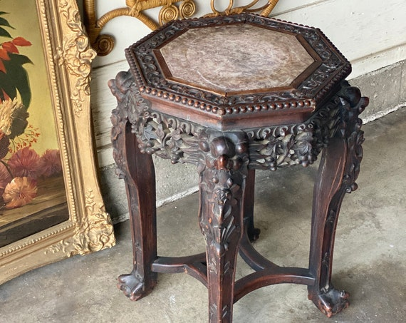 Vintage 1960s Solid Mahogany Wood Chinoiserie Style Plant Stand with Travertine Top