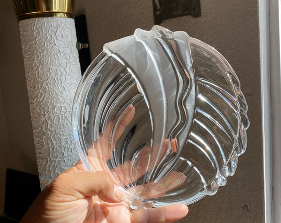 Vintage Retro Frosted and Clear Glass Candy Dish