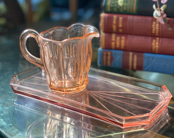 Art Deco Style Rectangle Pink Depression Glass Tray / Catch All Dish / Platter