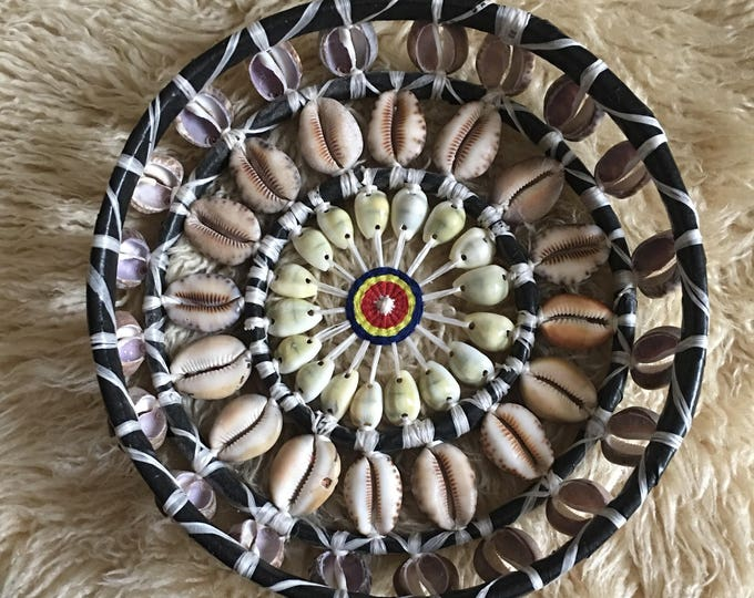 Vintage Woven Chunky Seashell God's Eye Basket / Trivet / Wall Hanging Art