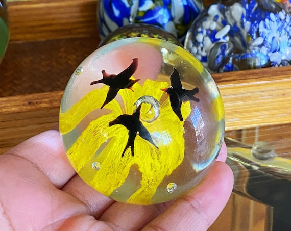 Clear Glass and Yellow Bird Trio Orb Paperweight - Murano Style Blown Glass Art