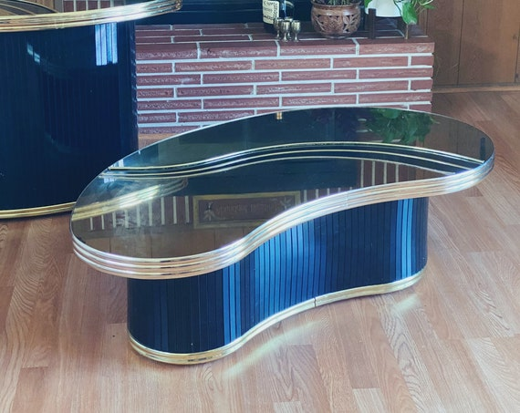 Black and Gold Mirrored Post Modern Coffee Table with Inlay Design