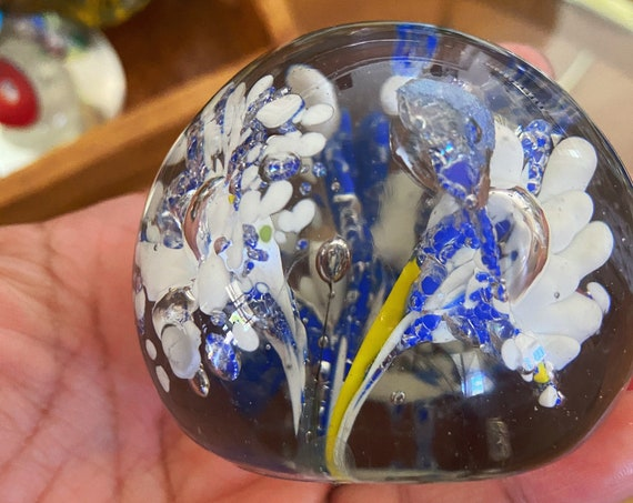 Murano Glass White Blue Floral Firework Suspension Round Orb / Paperweight / Blown Glass Sculpture