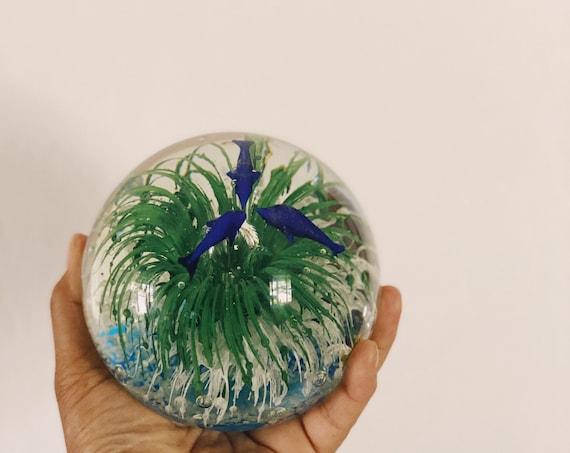 Large Round Handblown Glass Orb - Fish and Ocean Sea Scene