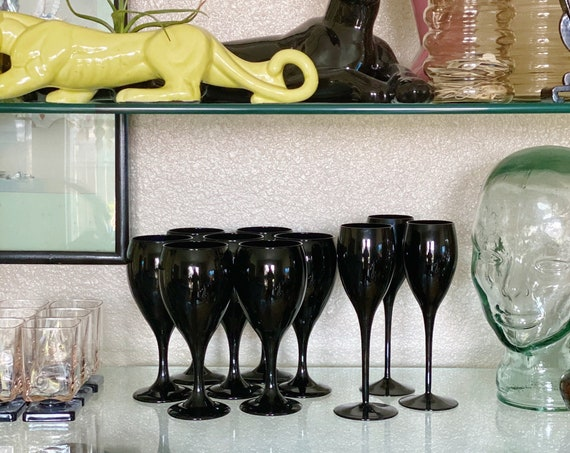 Solid Black Opaque Wine Glass Goblets - Multiple Sizes