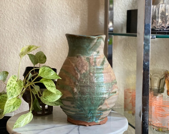 Large Vintage Green / Off White Ceramic Jug