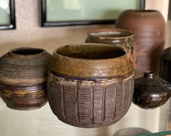 Heavy Dense Textured Earthtone Glaze Ceramic Planter Pot / Vase / Vessel