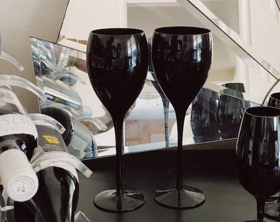 Tall Stemmed Solid Black Opaque Wine Glass Goblets - Pair of Two