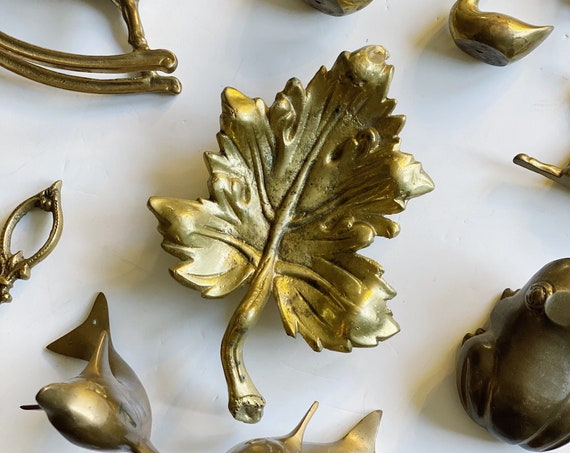 Vintage Solid Brass Maple Leaf Tray / Catch All / Figurine
