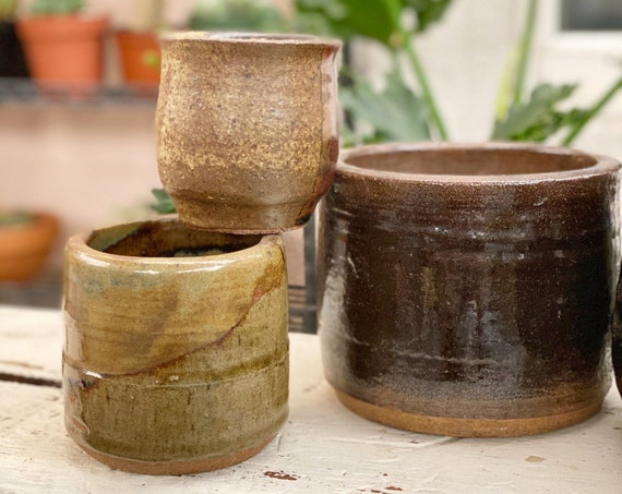 Small Cylinder Earthtone Ceramic Cup / Planter Pot / Vase / Vessel - Various Styles