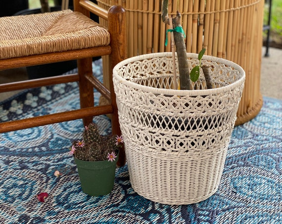 Tall White Woven Wicker Basket with Ornate Swirl Design