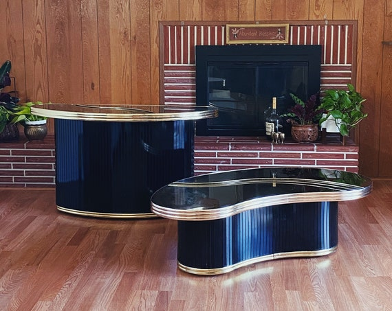 Black and Gold Mirrored Post Modern Console Table / Mini Bar