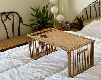 Vintage Rattan Bamboo Serving Tray with Cupholder and Side Compartment