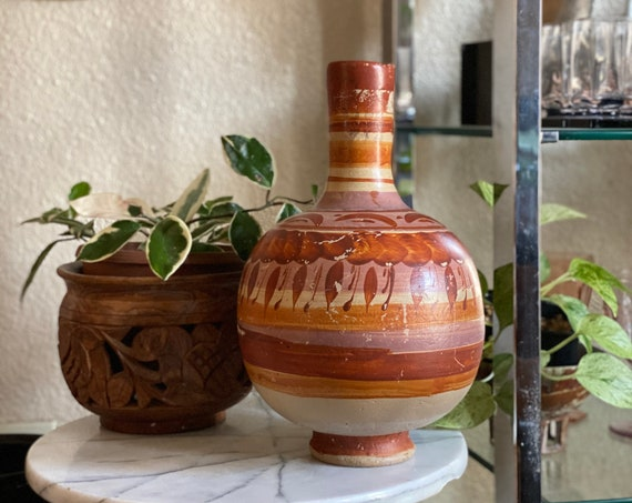 Vintage Burnt Orange / Mauve / Brown Mexican Water Jug