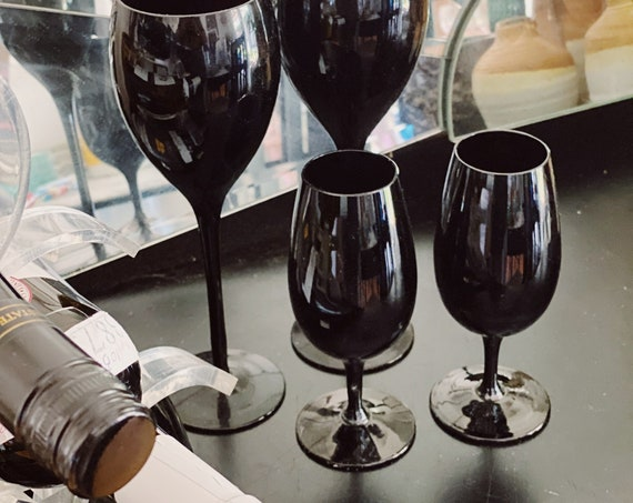 Short Stemmed Solid Black Opaque Wine Glass Goblets - Pair of Two