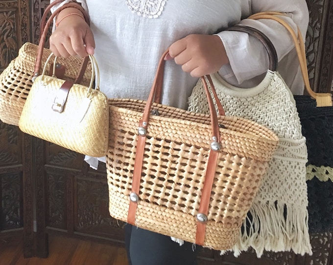 Bohemian Woven Straw Tote Bag with Camel Colored Strap Handles