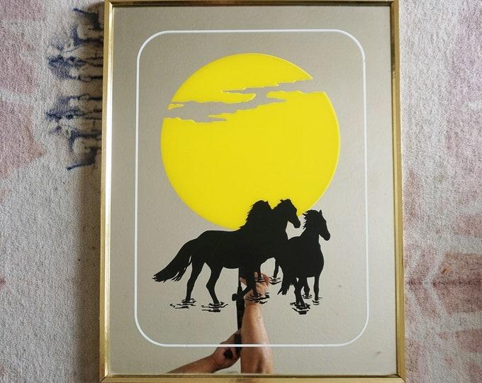Vintage Sun and Horses Screenprint Gold Framed Mirror