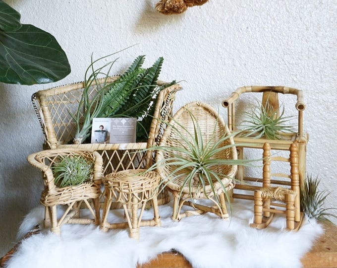 Vintage Miniature Furniture - Thatched Rocking Chair / Wicker Armchair and Table