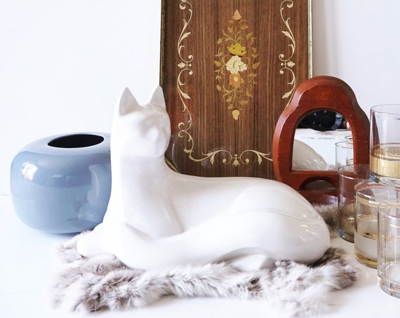 Vintage White Siamese Cat Sculpture by Royal Haeger