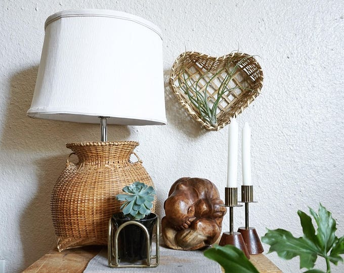 Vintage Wicker Basket Table Lamp with Shade