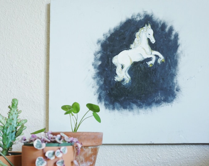 Vintage White Horse on Canvas Original Art Painting