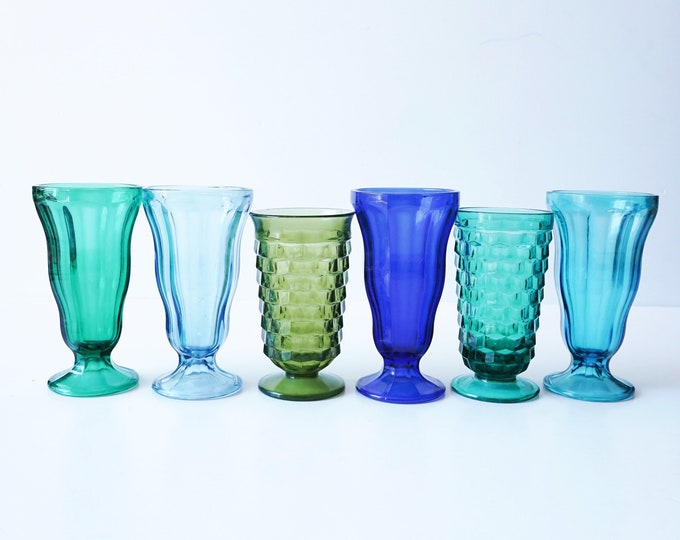 Blue and Green Mix Soda Tumbler Glass Cups - Set of 6 - Instant Collection