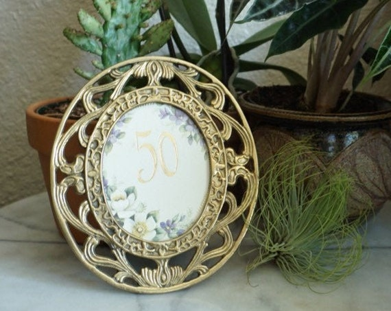 Vintage Oval Ornate Etched Floral Motif Solid Brass Picture Frame