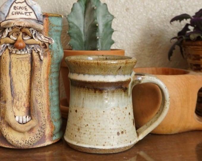 Brown Specked Top Half Glazed Ceramic Studio Pottery Mug