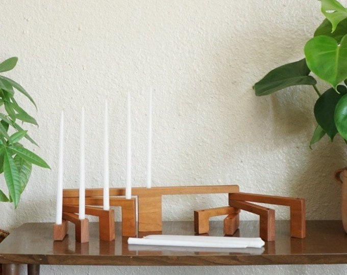 Danish Style Pivoting / Folding Wooden Candelabra Nine Candle Holder