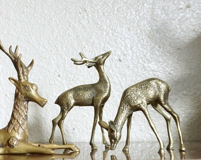Mid Century Pair of Solid Brass Deer / Doe / Reindeer