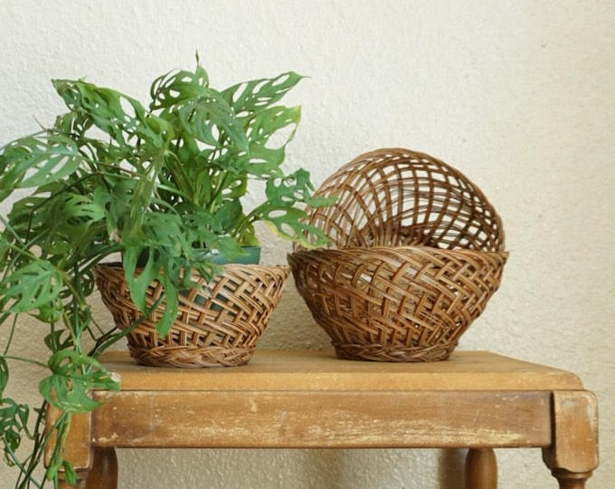Set of 6 Woven Wicker Nesting Baskets