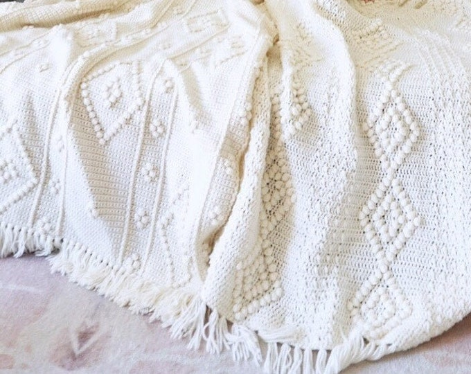 Vintage Off White Crocheted Popcorn Weave Afghan Blanket Throw