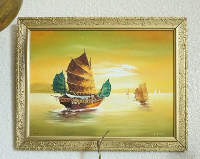 Vintage Framed Hong Kong Boat Sunset Original Art Oil Painting by L. Lam