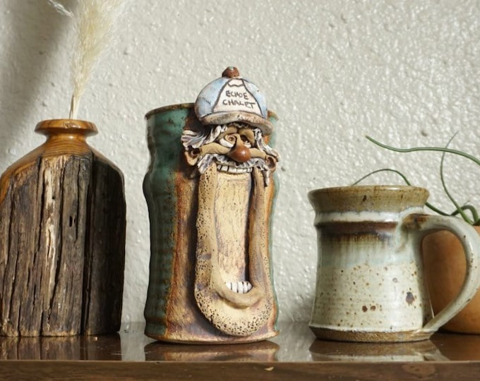 Tall Large Echoe Chalet Man Face Ceramic Studio Pottery Mug