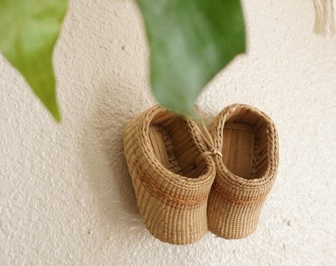 Pair of Woven Straw Baby Booties / Shoes