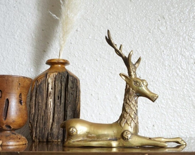 Stunning Mid Century Solid Brass Reindeer / Stag / Deer / Gazelle