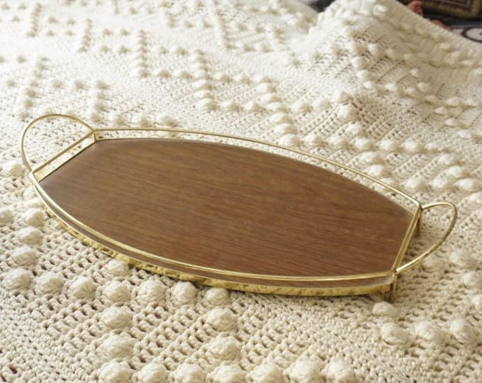 Mid Century Oval Laminate Wood Tray with Gold Metal Frame and Handles