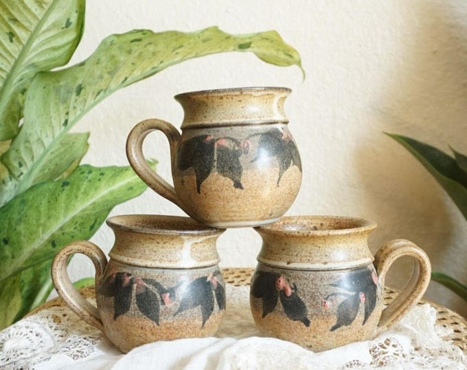 Brown Holly Floral Leaves Ceramic Stoneware Mug - Set of Two